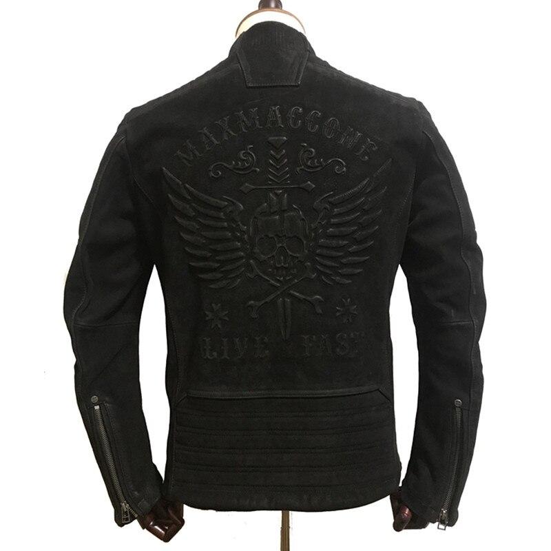 HARLEY DAMSON  Vintage Black Men Skull Biker's Leather Jacket Plus Size XXXXL Genuine Thick Cowhide Motorcycle Leather Coat