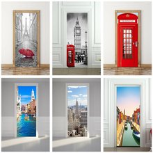 France Tower Big Ben Red Phone Booth Classic Car Church on Spilled Blood Venice Taj Golden Gate Bridge World Door Sticker