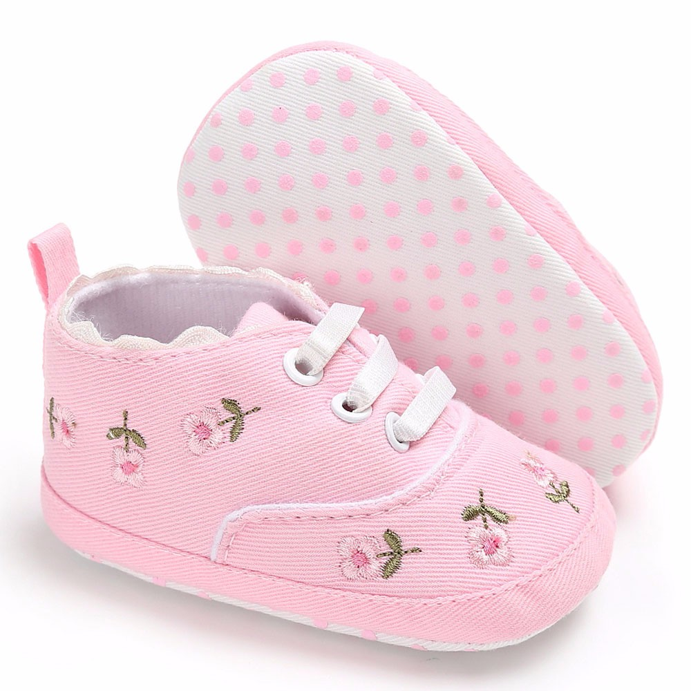 Newborn Infant Baby Girls Floral Crib Canvas Shoes Soft Sole Anti-slip Sneakers shoe sole for doll first walkers