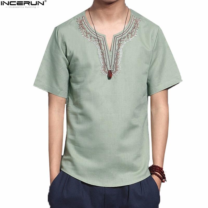 INCERUN Cotton Social Men Shirts Chinese Culture Mens Shirt Loose Short Sleeve V-neck Shirt Men Plus Size camisa masculina 3XL