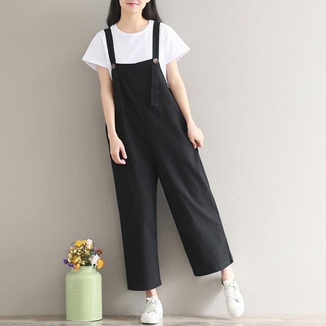 9a2fa00c462 New Womens Summer Spaghetti Straps Wide Leg Harem Loose Long Pants Jumpsuit  Cotton Linen Solid Romper Overalls Plus Size