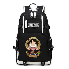 New Anime One Piece Monkey D Luffy Team Skull Chopper Law Roronoa Zoro Women Men Backpack Schoolbag Bag Boys Girls Student