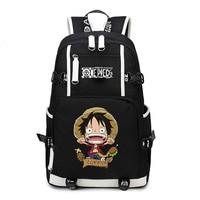 New Anime One Piece Monkey D Luffy Team Skull Chopper Law Roronoa Zoro Women Men Backpack Schoolbag Bag Boys Girls Student