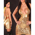 2016 Sexy Sequin Shiny Club Dresses Women Club wear Gold Mini Sexy Dancer Night Dress vestidos mujer 2016 W203067