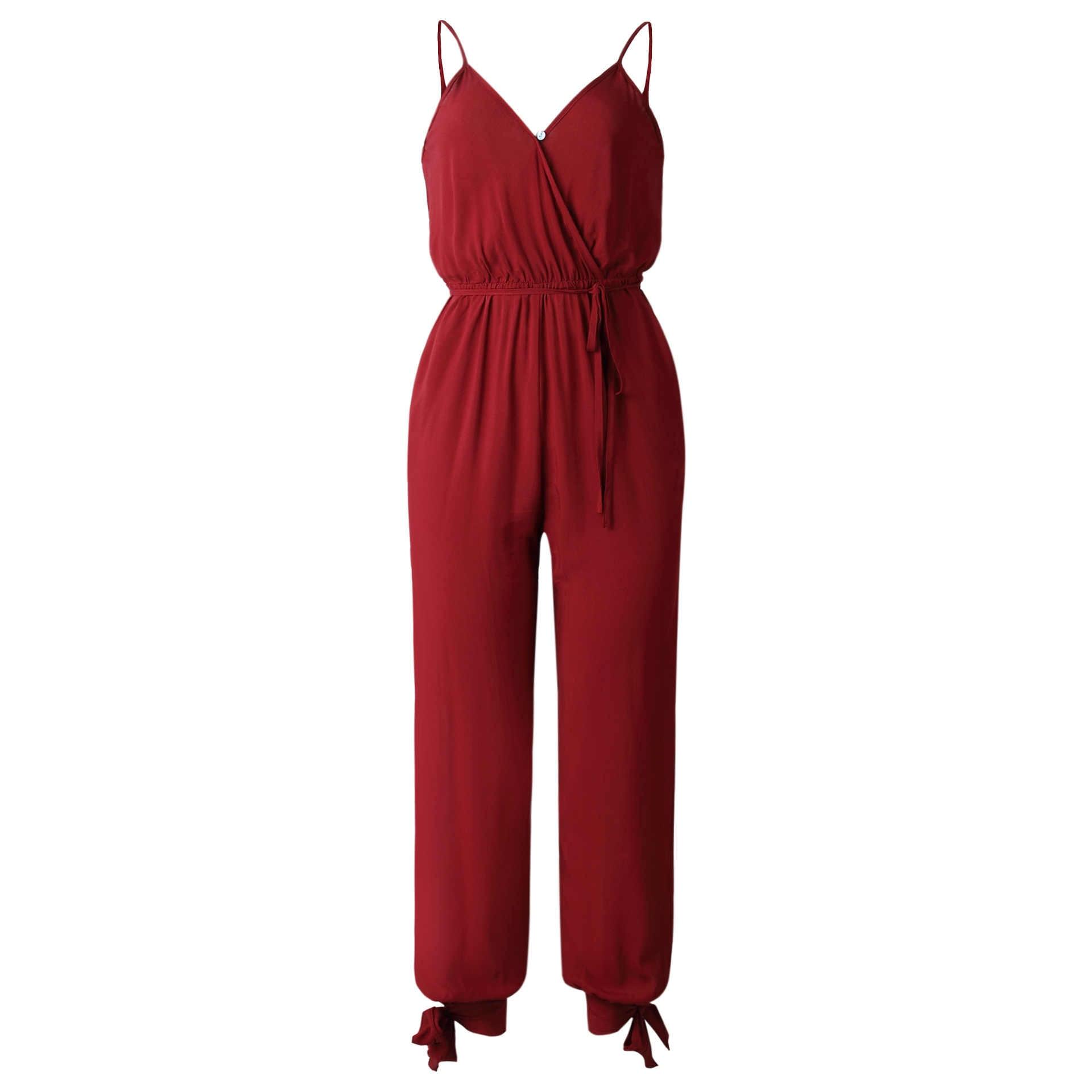 Wontive цвет красного вина V образным вырезом сексуальные женские комбинезоны с поясом Женское боди комбинезоны для малышек костюм пляжного типа комбинезон