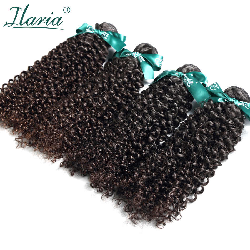 ILARIA HAIR Brazilian Virgin Kinky Curly Hair 4 Bundles 100% Curly Human Hair Weave Bundles Natural Color Human Hair Extensions