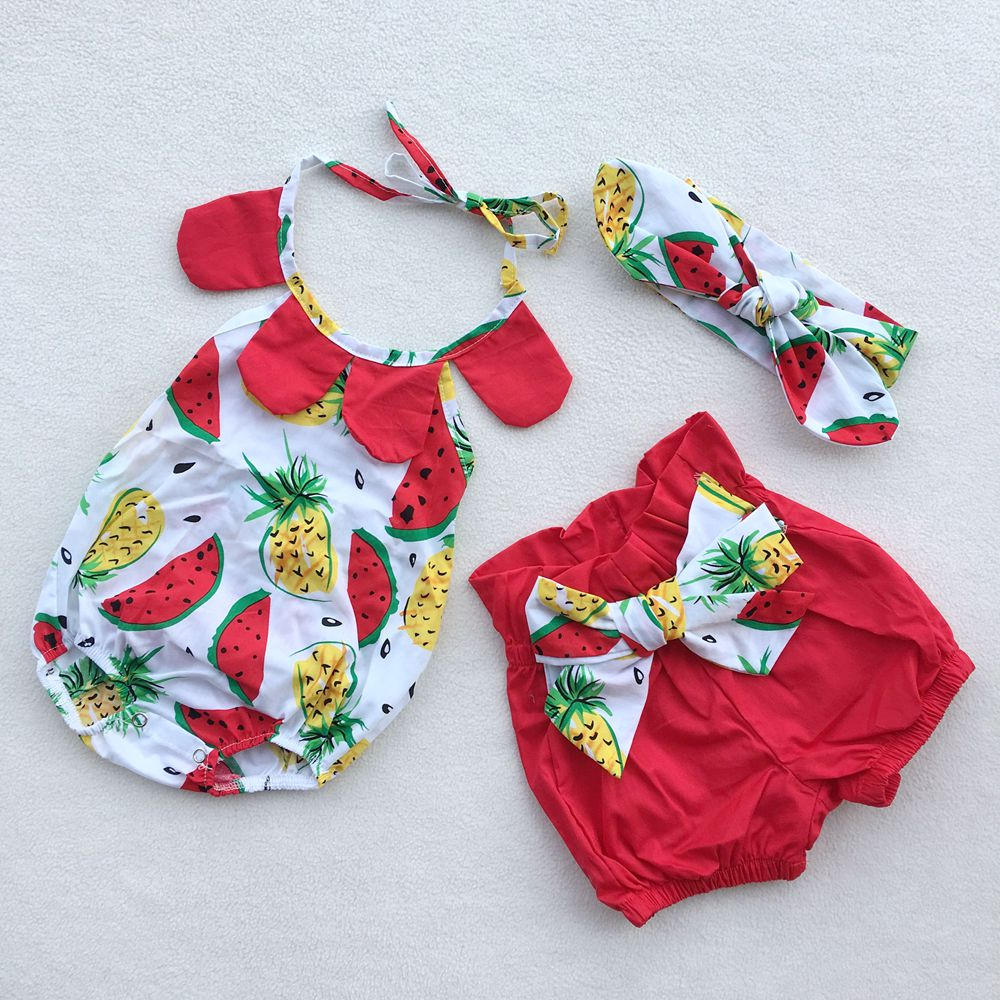 Watermelon pineapple Summer Baby Floral Romper Baby Girl Ruf