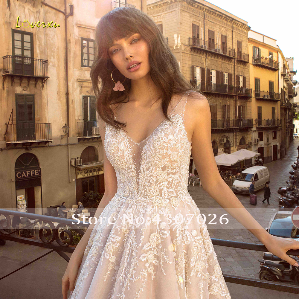 Image 4 - Loverxu V Neck A Line Wedding Dress Chic Applique Beading Tank Sleeve Backless Bride Dress Cathedral Train Bridal Gown Plus Size-in Wedding Dresses from Weddings & Events