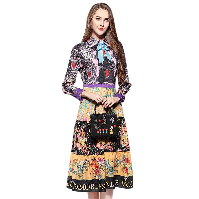 2018 spring fashion brand cartoon parten printed Dress female suit collar cat pattern printed dress wj2104 drop shipping