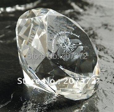 50 шт./лот, настроить ясно 80 мм кристалл круглый бриллиант пресс-папье с 2d кольцо для Свадебная вечеринка украшения подарки