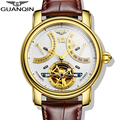 2016 Luxury Brand GUANQIN Automatic Mechanical Watches Men Waterproof Luminous Watch Calendar Leather Gold Wristwatch