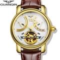 2016 marca de luxo guanqin mecânico automático relógios homens à prova d' água relógio luminoso calendário de couro relógio de pulso de ouro