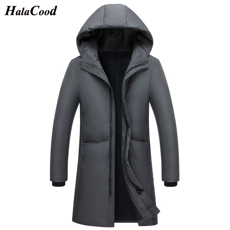 HALACOOD Men   Down   Jacket Simple Hooded White Duck   Down   Casual Winter Jacket Men Long Warm   Down     Coat   Black Brand Clothes Big Size