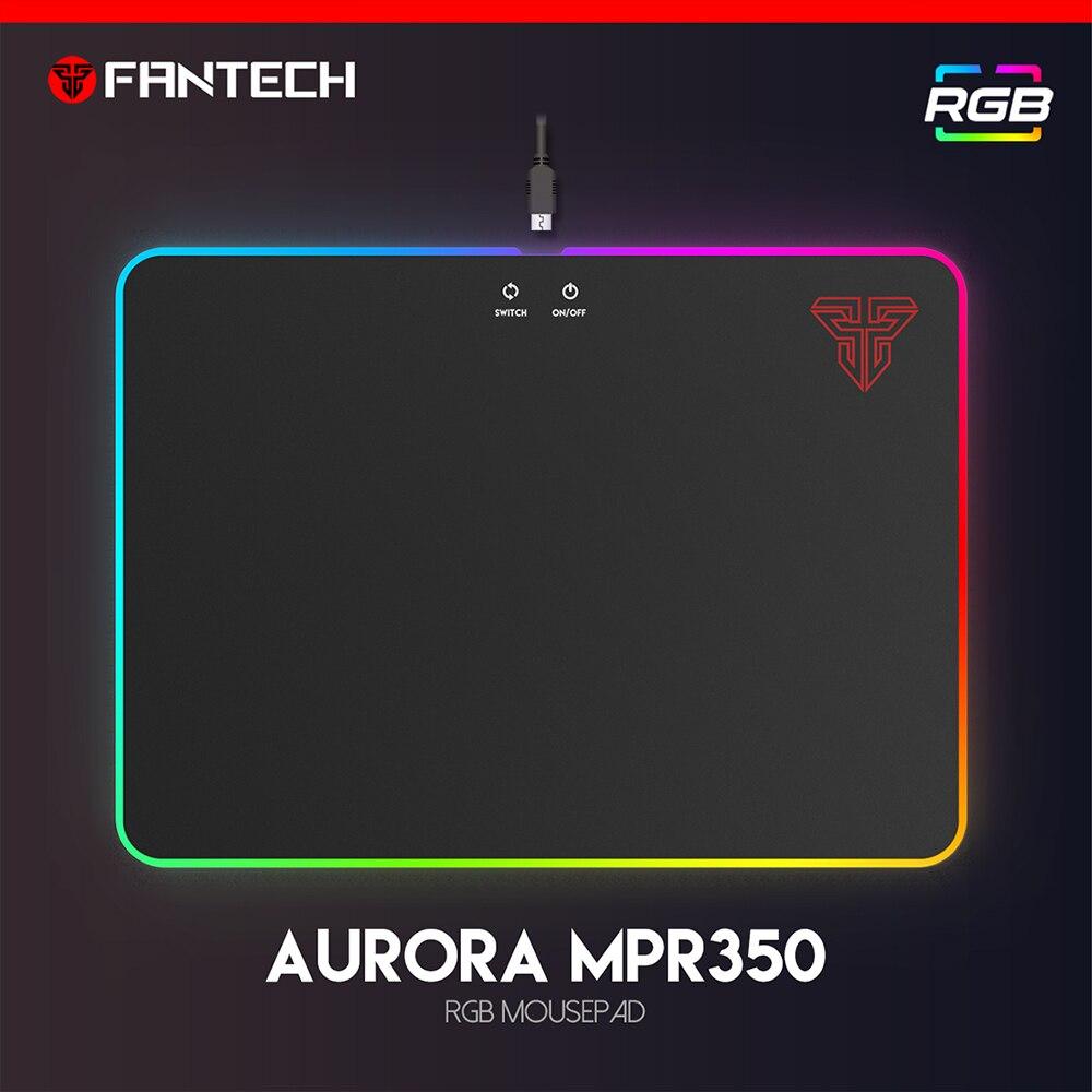 FANTECH acrylique RGB tapis de souris de jeu 35.5x25.5x0.06 cm USB RGB tapis de souris anti-dérapant en caoutchouc naturel pour clavier bureau tapis jeu