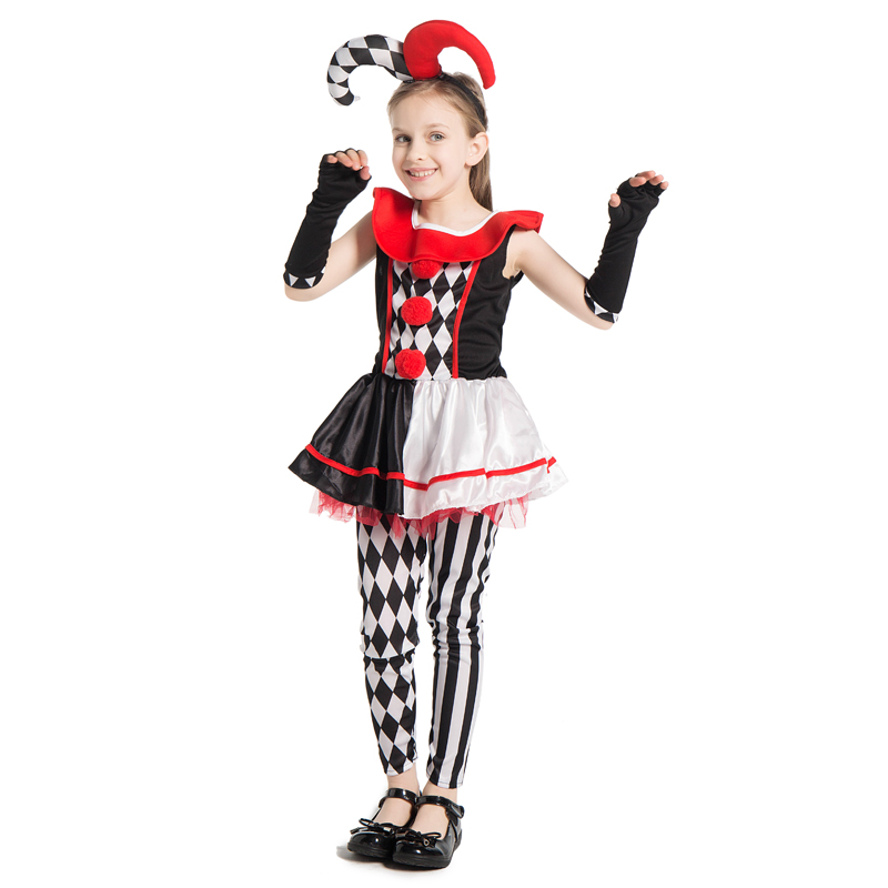 Killer Clown Halloween Costumes For Girls.Us 16 79 30 Off Snailify Evil Jester Costumes Child Scary Clown Killer Cosplay Girls Harley Quinn Honey Costume Halloween Costume For Kids In Girls