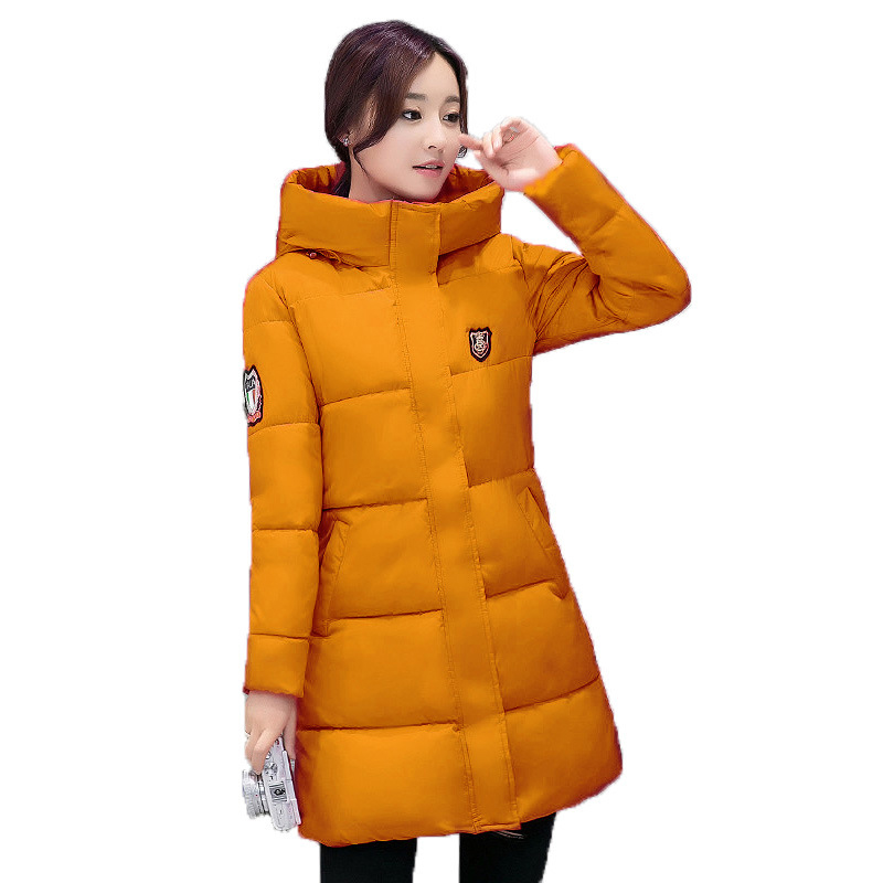 Office Lady Winter Coats Women Fashion Warm Cotton Long   Parkas   Hooded Pockets Female Winter Jacket Women Casual Coat 2018 MDR117