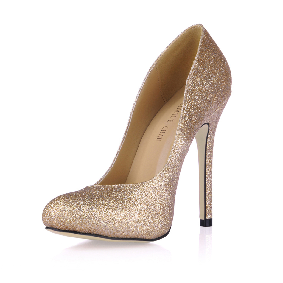 Glitter Bridal Party Round Toe Stiletto Women Pumps <font><b>Chaussure</b></font> Escarpins Femmes <font><b>Talon</b></font> <font><b>Haut</b></font> Aiguille Mode Fete Soiree YJ0640C-a4 image