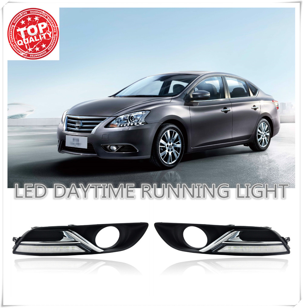 Whole set LED Car DRL with fog light Daytime Running Lights for Nissan Sylphy Sentra 2013 2014 2015 with auto fog daylight co light 1 set 4pc car led work light 4d 6000k 12v 24v spot daytime running lights for auto niva 4x4 lada skoda vw truck tractor