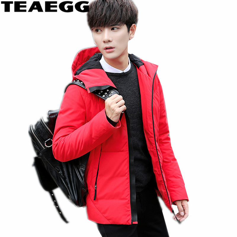 TEAEGG Casual Hooded Red Mens Winter Down Jacket Short Coat 2017 Casual Down Jacket For Man Clothing Outwear Mens JacketsAL378