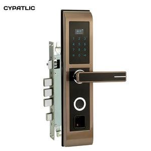 CYPATLIC JCF2019 Golden Color Cerradura Electronica Puerta biometric digital door locks with LCD display Handlesets     -