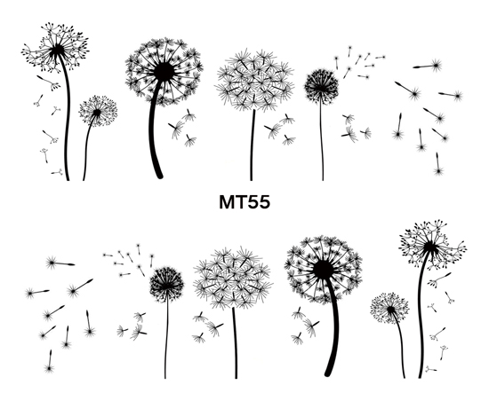 For Nail MT55 Full Cover Black Dandelion Nail Art Water Transfer Sticker Decal For Nail Art Tattoo Tips DIY Nail Tool 4 packs lot full cover white french smile lace tattoos sticker water decal nail art d363 366w