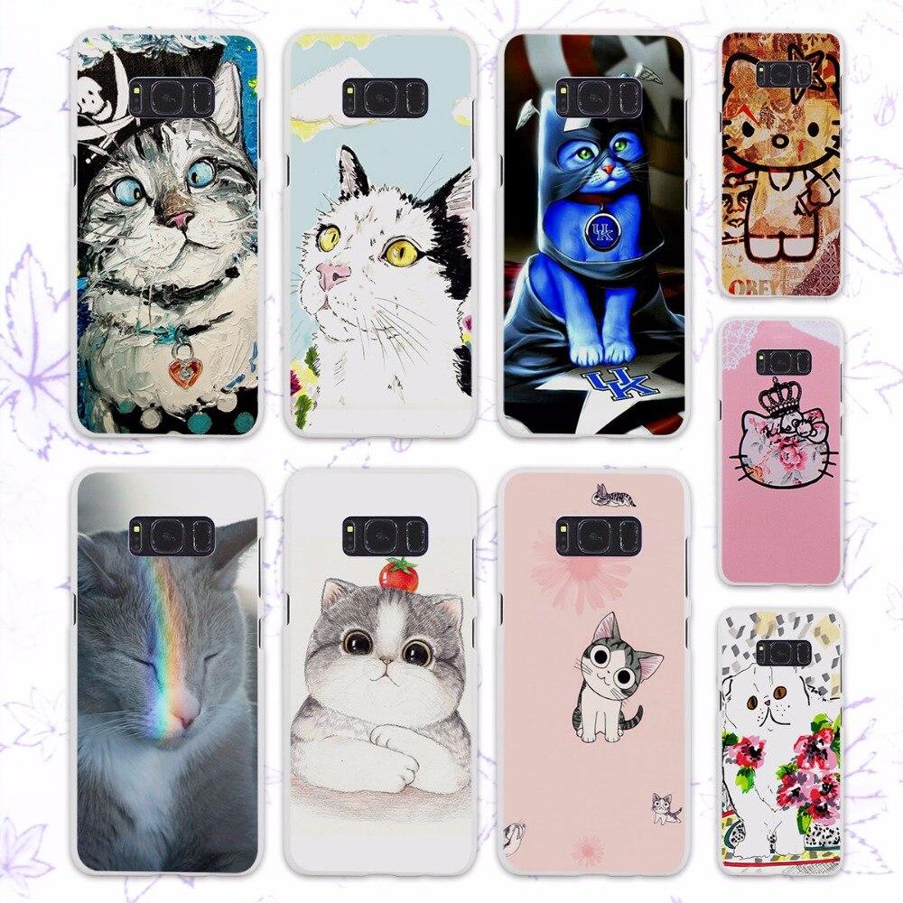 Kawaii kitty cat design hard White Case for Samsung Galaxy s6 s7 edge S8 Plus S8 s4 s5 mini note 5 4