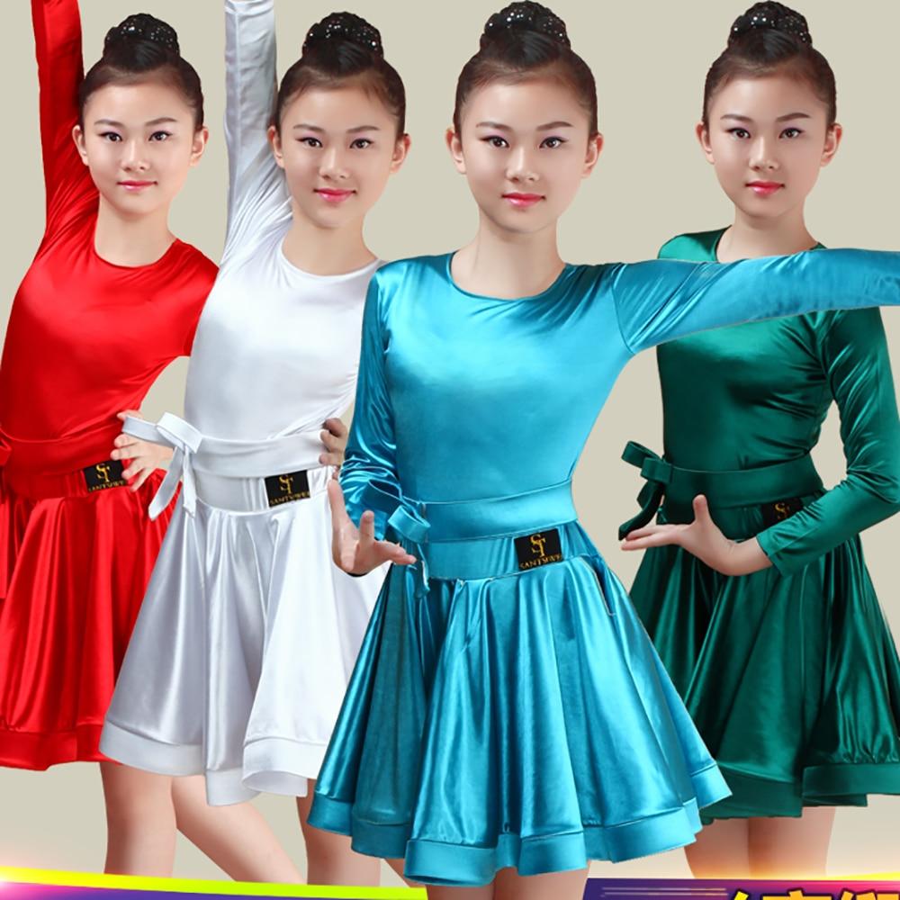 Sexy Girl Latin Dance Dress Red Green Blue Child Kid Standard Skirts Children Schoolgirl Feminine Class