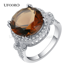 UFOORO Wholesale Champagne CZ Rings For Women Wedding Gift Luxury Lover Promise Ring Drop Shipping