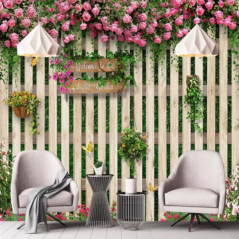 Custom 3d mural mediterranean wood board rose background wall decoration painting wallpaper photo