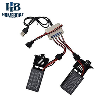 2 Pcs 3.7v 1000mah Battery and 1 to 3 USB Charger for Udi U842 U818S Rc Quadcopter Drone Black Spare Parts Batteries Set