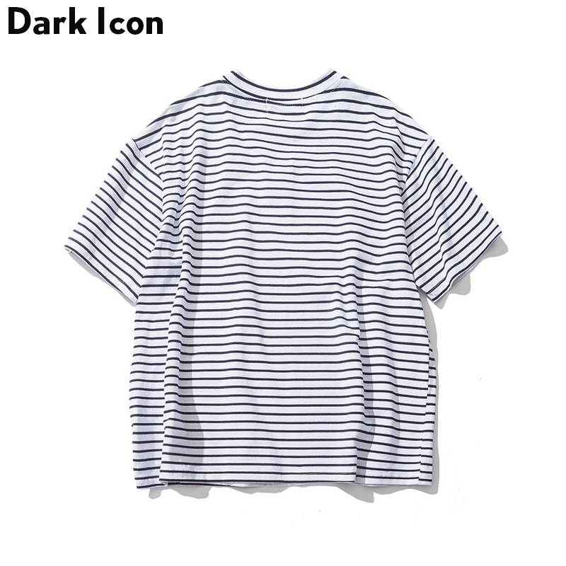 Dark Icon Rose Embroidery Striped Mens T-shirt Short Sleeve 2019 Summer Hi-street Oversized Hip Hop Tshirt Cotton Tee Shirts 3