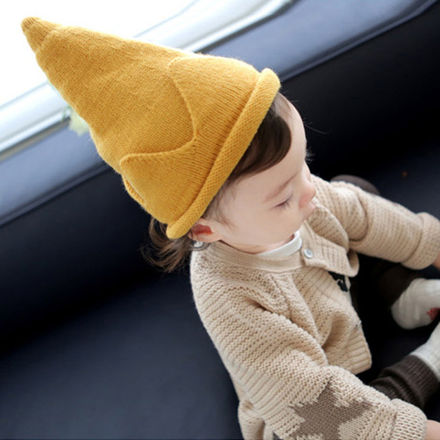 3c06783e Mingjiebihuo new fashion cute Autumn and winter new children elasticity  knit hat baby warm hat crown shape comfortable head cap