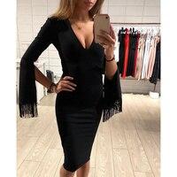 Newest Bandage Dress Women Autumn Winter Black Fashion V Neck Long Sleeve Tassel Celebrity Evening Party