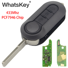 WhatsKey for Fiat 3 Buttons Remote Control Key 433Mhz ID46 PCF7946 Chip Flip Folding For 500 Bravo Grande Punto 2010-2017