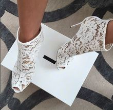Summer Botas Sandalias Red White Extreme High Heel Lace Shoes Wedding Party Peep Toe Mesh Ankle Bootie Shoes Woman 2020 Heels woman wedge shoes white ivory high heel peep toe ankle strap lace bridesmaids bride wedding shoes evening prom pumps wp1415