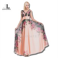 Real Photos 2015 Hot Sale Elegant Floor Length Chiffon Long Evening Dress Gown Formal Dresses Robe
