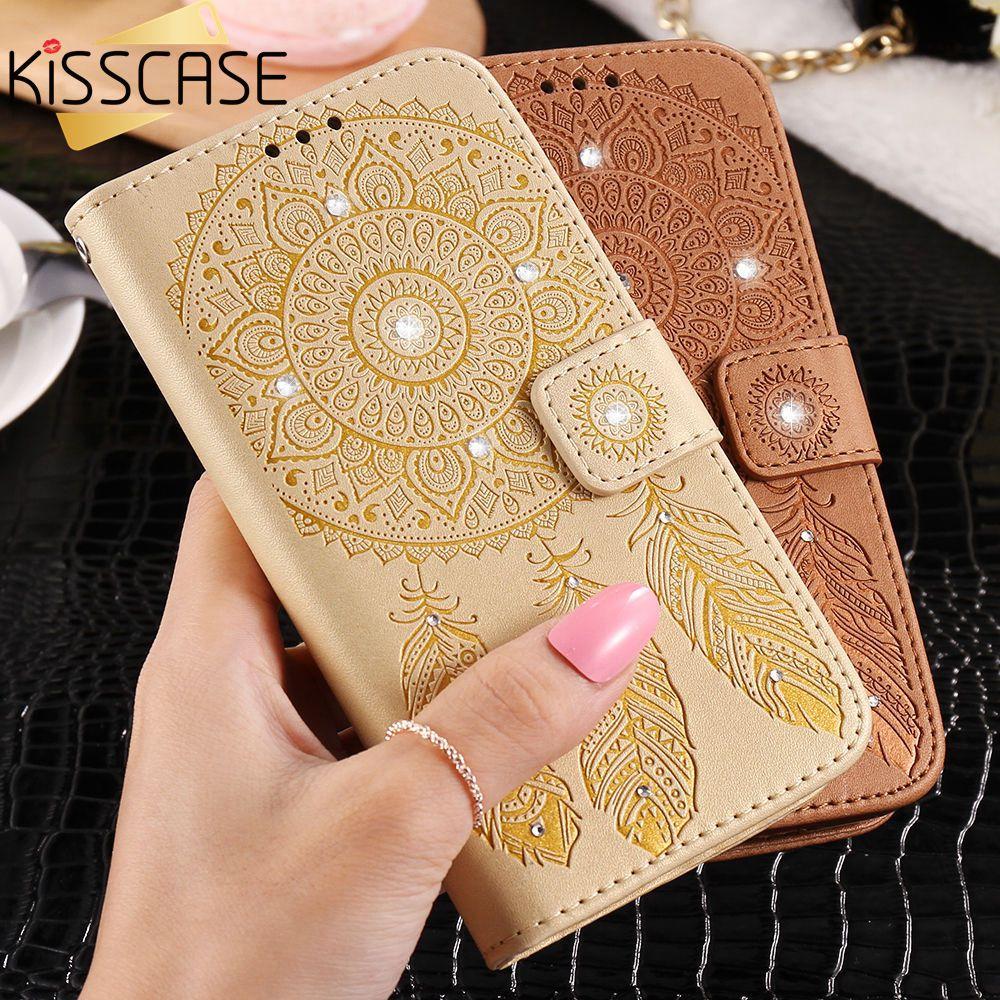 Kisscase campanula teléfono case para huawei p9 lite cartera de cuero de lujo de