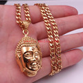gold Plated 316L Stainless Steel Biker Buddha PENDANT Necklace Men's Holiday Gift 5mm 24'' Curb chain