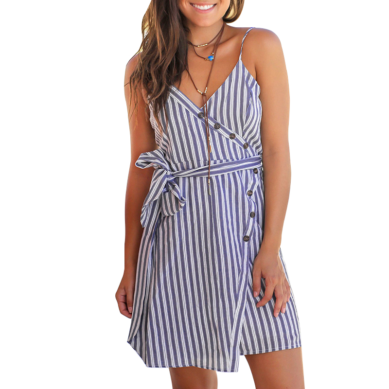 Summer Mini Dress Women Striped <font><b>Vestidos</b></font> <font><b>Verano</b></font> <font><b>2018</b></font> <font><b>Sexy</b></font> Casual Clothes Spaghetti Strap Off Shoulder V Neck Dresses With Sashes image