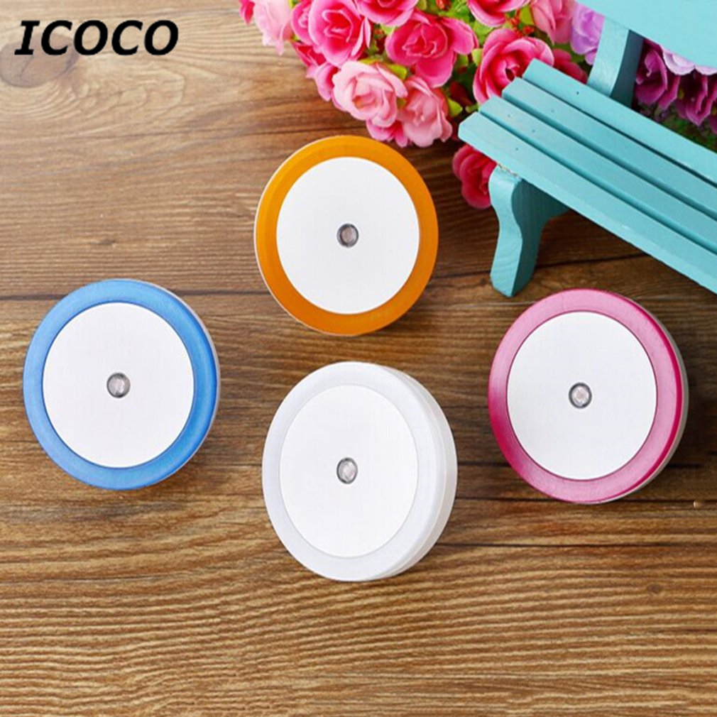 ICOCO Mini Round Shape Wall Light LED Induction Lamp Nightlight Automatic Switch Light Sensor Household Supplies Energy Saving