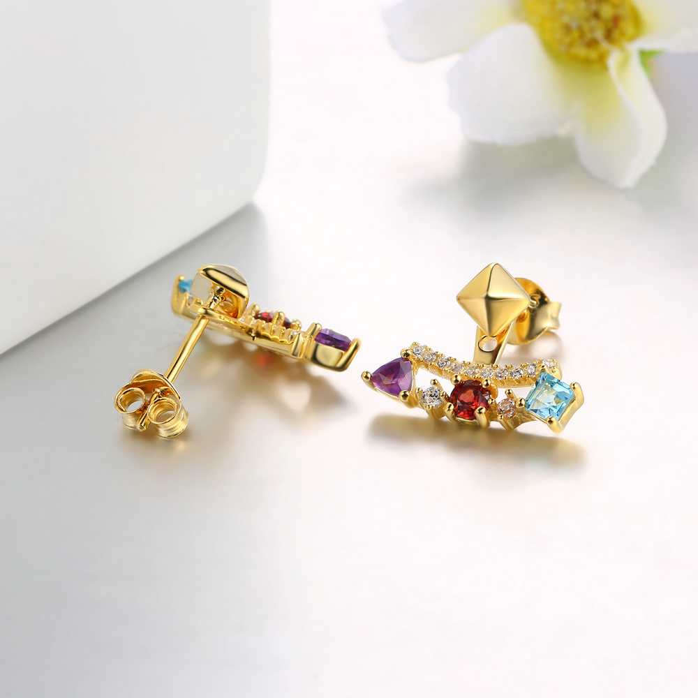 MoBuy MBEI003 Unique Gemstone Garnet Topaz Amethyst Stud Earrings ...