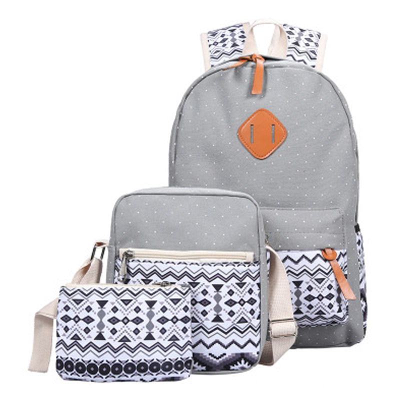 Women Backpack Bookbags Lightweight Canvas-Printing Teenage-Girls Female for Middle 3pcs/Set