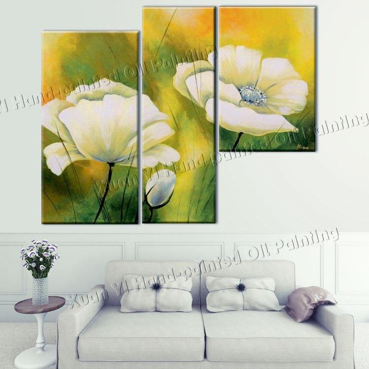 pintado a mano panel de arte de la pared verde amarillo flor imagen