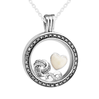 Medium FANDOLA Floating Locket Pendant & Necklace With Infinite Love Petites 100% 925 Sterling Silver Jewelry Free Shipping