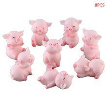цены 8Pcs/Set Modeling Cute Piggy Lucky Pink Pigs Home Garden Ornament Toy Bonsai Micro Landscape Decor