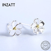 INZATT Cute 925 Sterling Silver Tiny Flower Stud Earrings 100% Guarantee Women