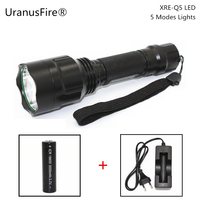 New LED Flashlight XRE Q5 5 Modes Lights Lamp Waterproof 18650 Battery Torch Camping Hunting Flash
