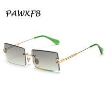 PAWXFB 2019 Small Frame Rectangle Sunglasses women Rimless Square Sun glasses For Women Men Green Blue Glasses