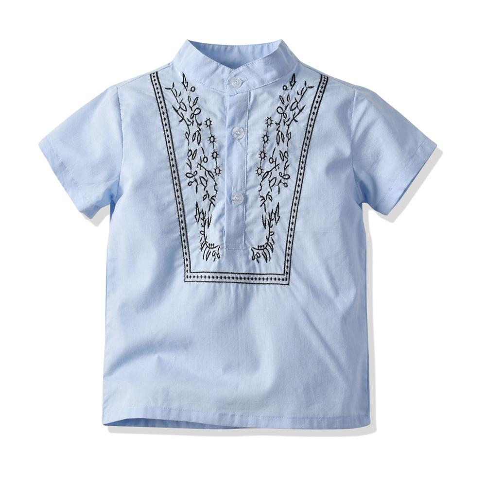 Cotton Shirt Short-Sleeve Children Clothes Baby-Boys Kids Casual Summer Blue Solid Blouses