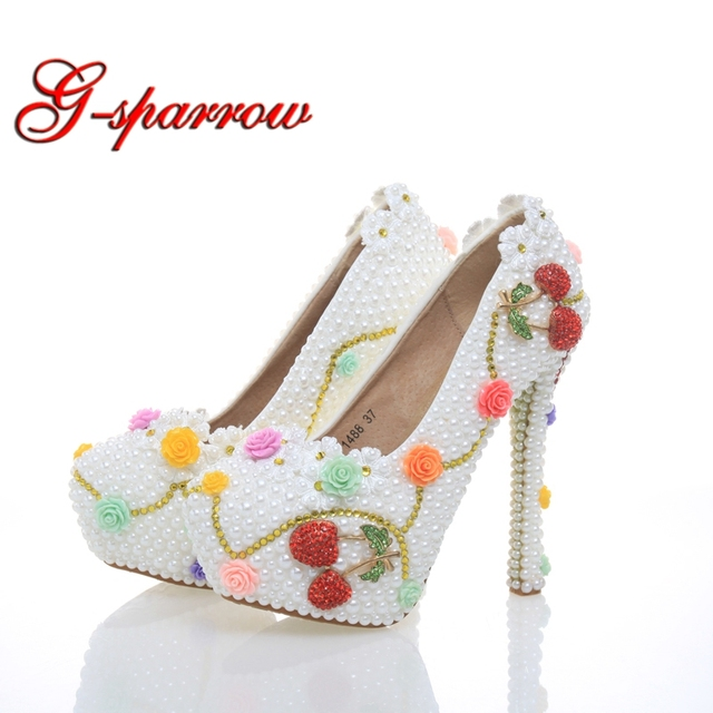 Beautiful White Pearl Wedding Shoes with Cherry Bride Dress Shoes Formal Dress  High Heels Cinderella Event 65de6ff7aa05